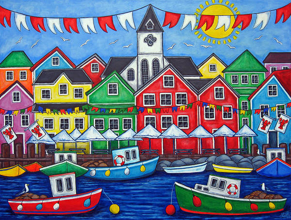Boats Canada Colorful Docks Festival Fishing Flags Green Harbor Harbour Art Print featuring the painting Hometown Festival by Lisa Lorenz
