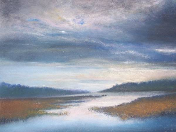 Landscape Art Print featuring the pastel Hood Canal - High Tide by Jackie Bush-Turner