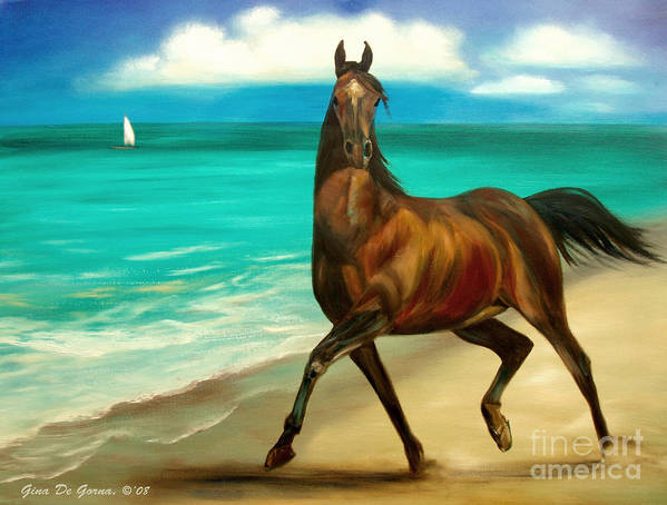 Horse Art Print featuring the painting Horses In Paradise Dance by Gina De Gorna