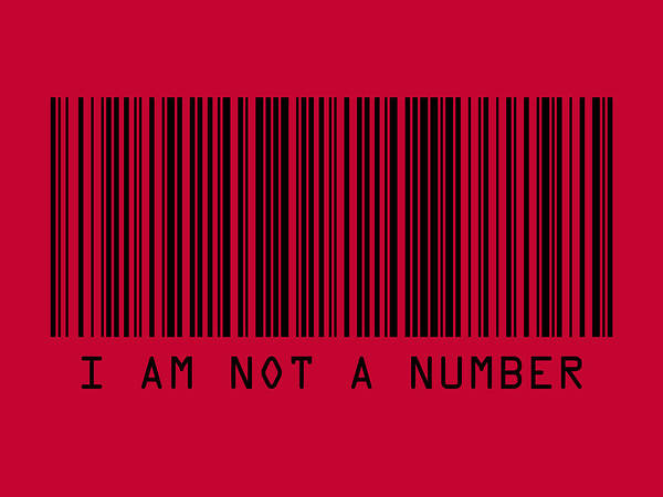 Barcode Print featuring the digital art I Am Not A Number by Michael Tompsett