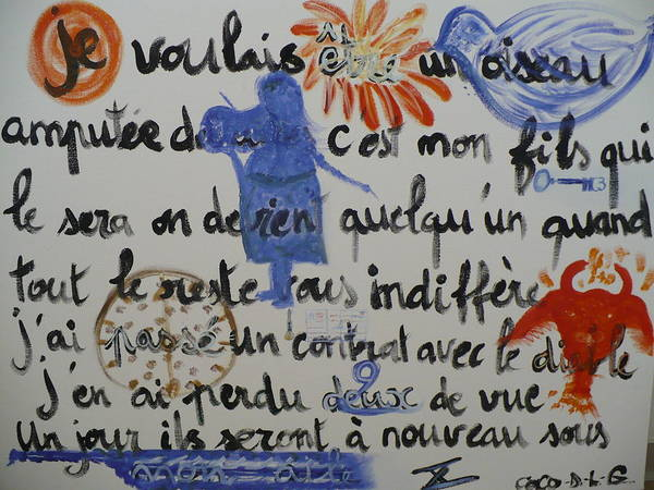 Poem.2006 Art Print featuring the painting I Wanted To Be. by Coco de la garrigue