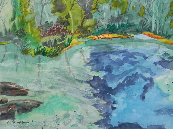 Ichetucknee Springs Abstract Art Print featuring the painting Ichetucknee Springs Abstract by Warren Thompson