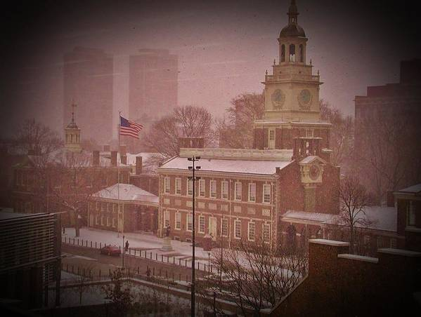 Philadelphia Art Print featuring the photograph Independence Hall In The Snow by Bill Cannon