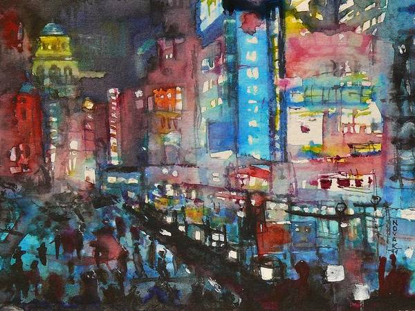 Cities Art Print featuring the painting Is There Anything Going On Tonight In Downtown by Dreja Novak