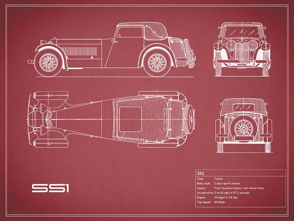 Jaguar SS1 Blueprint by Mark Rogan