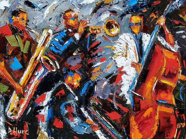 Jazz Art Print featuring the painting Jazz Unit by Debra Hurd