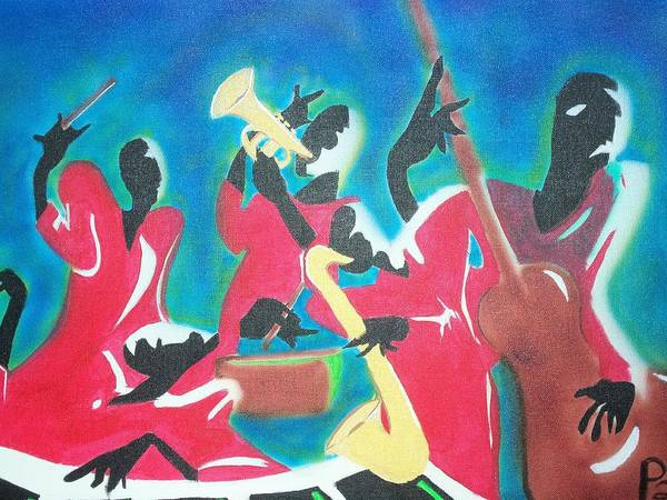Jazz Art Print featuring the painting Jazz'en It Up by Damion Powell