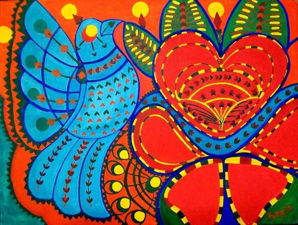 Contemporary Folk Art Print featuring the painting Jinga Bird - Jinga Bird Series by Fareeha Khawaja