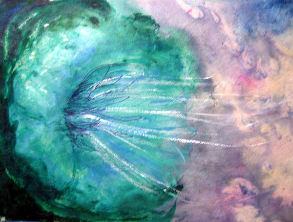 Turquoise Art Print featuring the mixed media Joy In The Serene Darkness by Sarah Hornsby