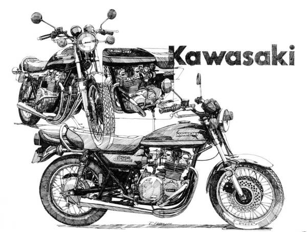 Transportation Art Print featuring the painting Kawasaki 900 by Ron Patterson