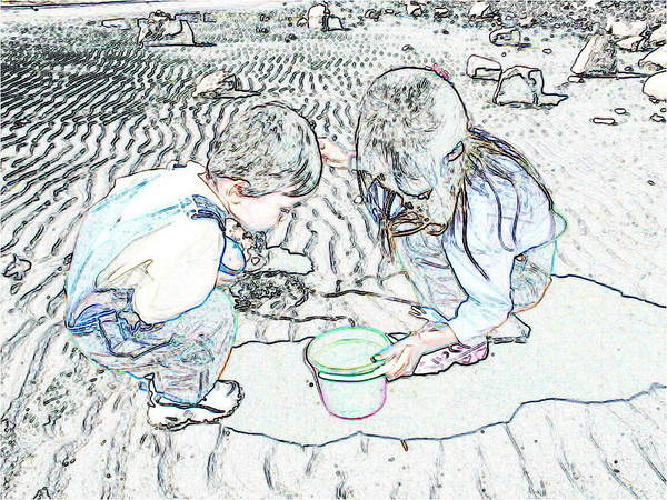Kids On The Beach Art Print featuring the digital art Kids On The Beach by Ming Yeung