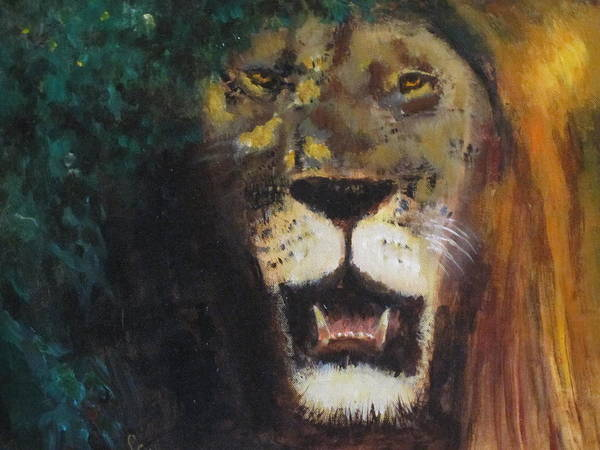 Lion Art Print featuring the painting King Of The Mane by Les Smith