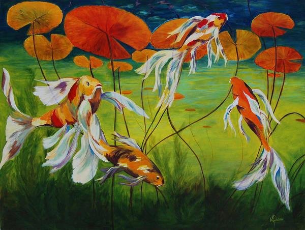 Koi Art Print featuring the painting Koi Dance by Karen Dukes