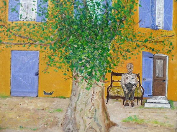 Blue Lavender Doors . Art Print featuring the painting La Campagne Argent De Oncle Charles. by Corinne De La Garrigue