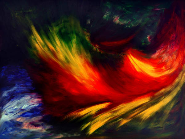 Abstract Art Print featuring the painting La Fleur Du Paradis by Dominique Boutaud