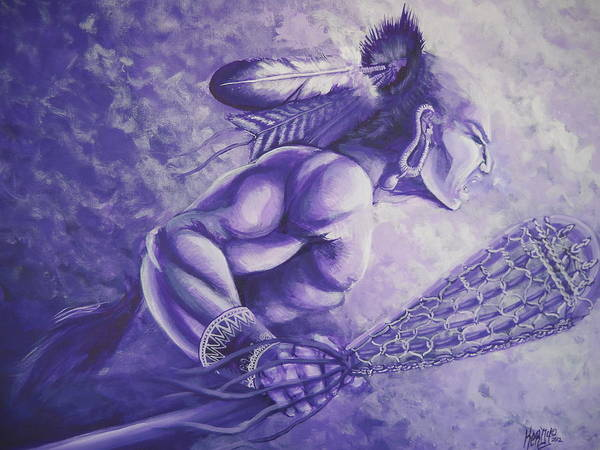 Akwesasne Print featuring the painting Lacrosse by Kerdy Mitcho