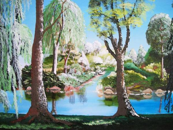 Landscape Art Print featuring the painting Lake Blue. by Keith Erskine