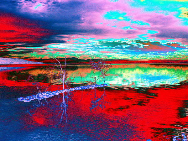 Sea Art Print featuring the digital art Lake In Red by Helmut Rottler