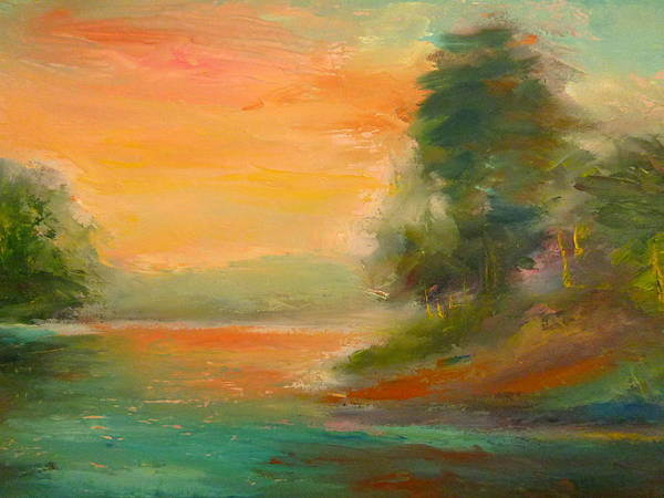 Landscape Art Print featuring the painting Lake Merced by Pusita Gibbs