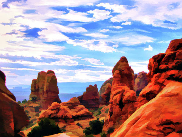 Land Of Moab Art Print featuring the digital art Land Of Moab - Watercolor by Gary Baird