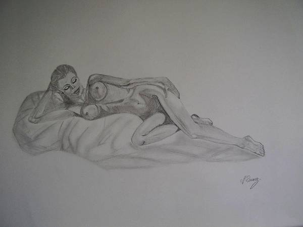 Nude Art Print featuring the drawing Lascivious by Murielle Hebert