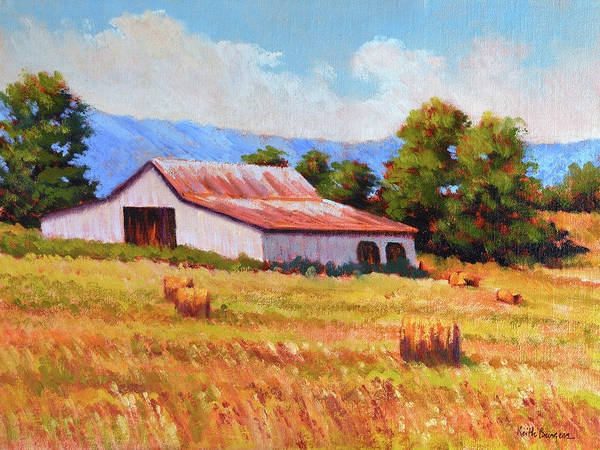 Impressionism Art Print featuring the painting Late Summer Hay by Keith Burgess