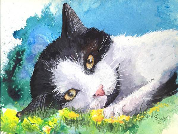 Cat Art Print featuring the painting Lazy Days by Sherry Shipley