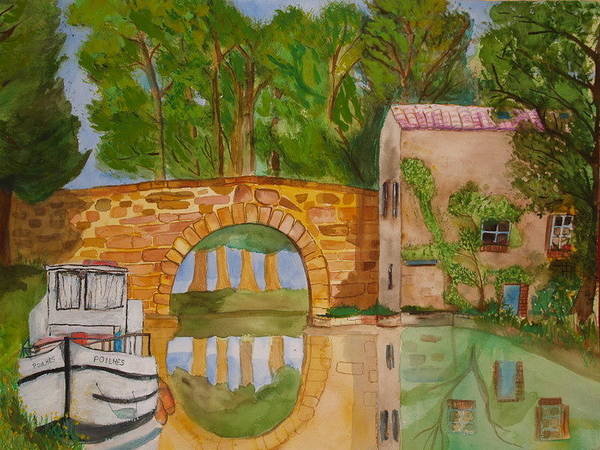 Boats Art Print featuring the painting Le Canal Du Midi by Aline Kala