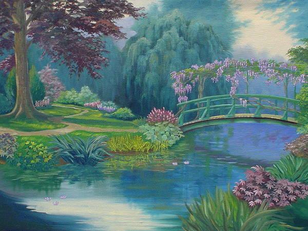 Landscape Art Print featuring the painting Le Pont Japonais by Tan Nguyen
