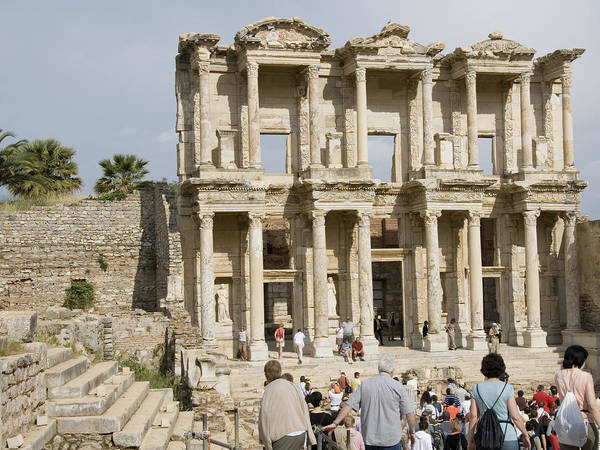 Ephesus Art Print featuring the photograph Library Ruins At Ephesus Turkey by Charles Ridgway