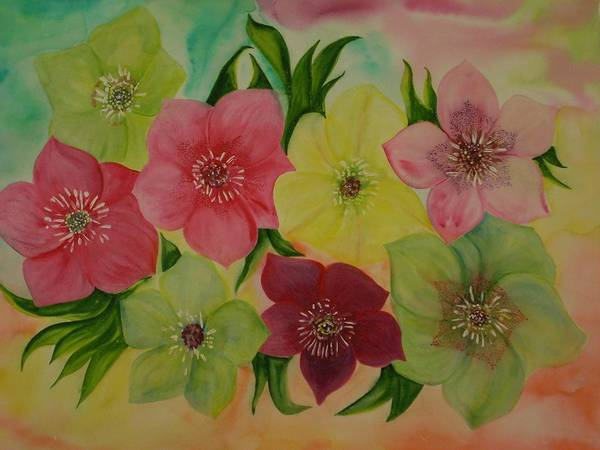 Flowers Art Print featuring the painting Life In Color by Murielle Hebert