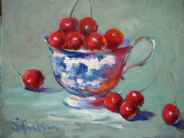 Stilllife Art Print featuring the painting Life Is Just A Cup Of Cherry by Susan Jenkins