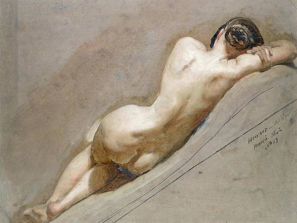 Nude; Back Art Print featuring the painting Life Study Of The Female Figure by William Edward Frost