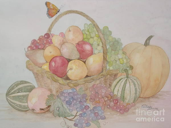 Wicker Fruit Basket Art Print featuring the painting Life's A Banquet by Patti Lennox