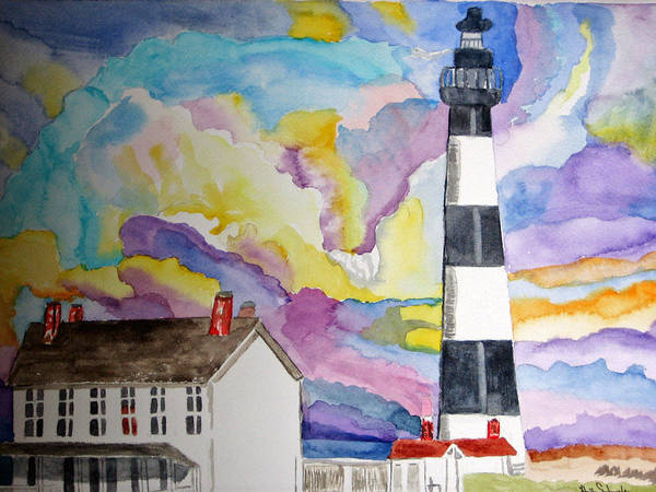 Lighthouse Art Print featuring the painting Lighthouse At Dawn by Holly Schussler