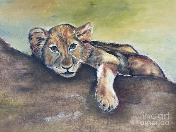 Lion Cub Art Print featuring the painting Lion Cub by Betty Bowers