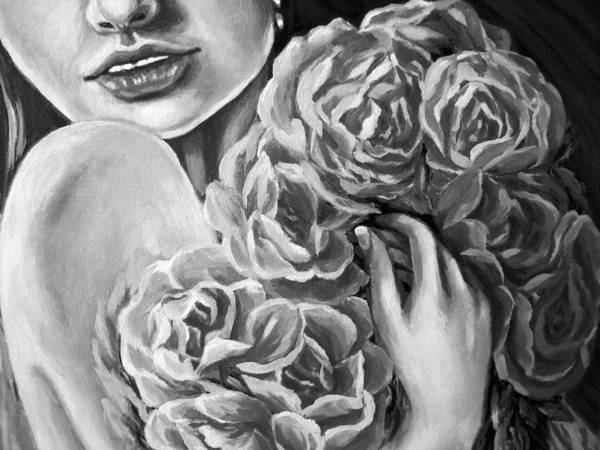 Amazing Print Art Print featuring the digital art Lips Of Love Black And White by Katreen Queen