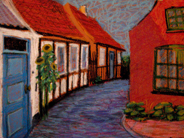 Bornholm Art Print featuring the painting Little Houses On Bornholm Island by Art Nomad Sandra Hansen