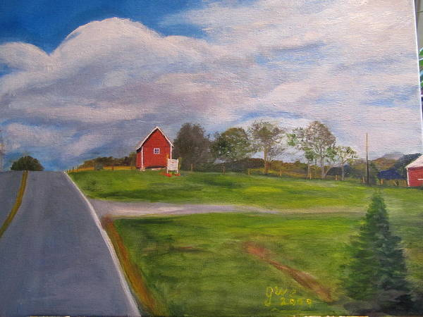 Barn Art Print featuring the painting Little Red Barn On Detrick Rd by Gloria Condon