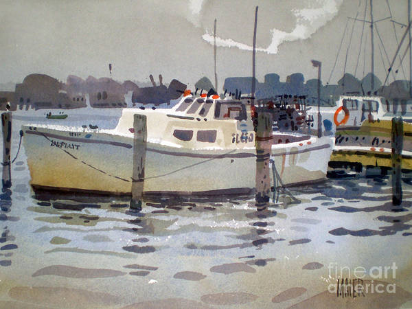 Lobster Boat Print featuring the painting Lobster Boats In Shark River by Donald Maier