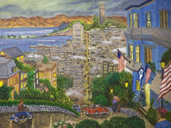 Landscape Art Print featuring the painting Lombard Street by Charles Vaughn