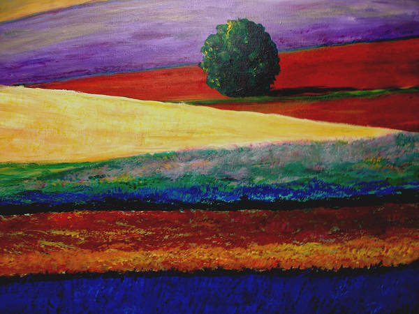 Lavender Art Print featuring the painting Lone Tree In Flower Fields Of Provence by Elizabeth Ferris