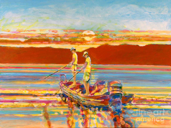 Fishing Art Print featuring the painting Looking For The Big One by Kip Decker