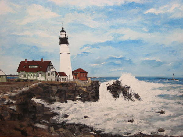 Lighthouses Art Print featuring the painting Maine Lighthouse by Marcia Crispino