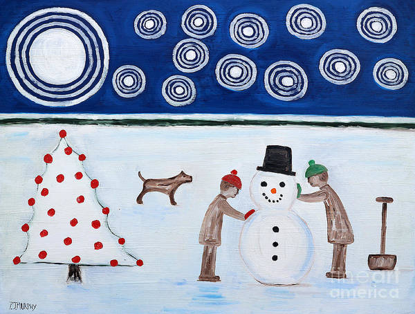Snowman Art Print featuring the painting Making A Snowman At Christmas by Patrick J Murphy