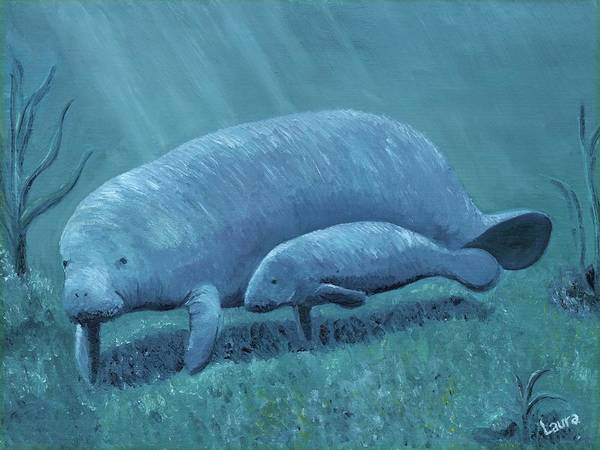 Manatee Art Print featuring the painting Manatees by Laura Zoellner