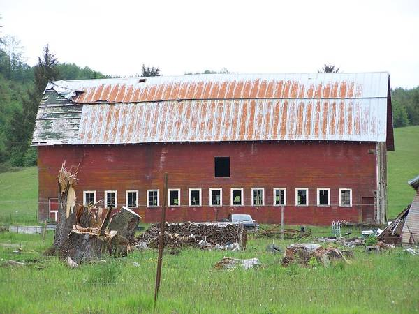 Barn Photos Art Print featuring the photograph Many Windowed Barn Washington State by Laurie Kidd