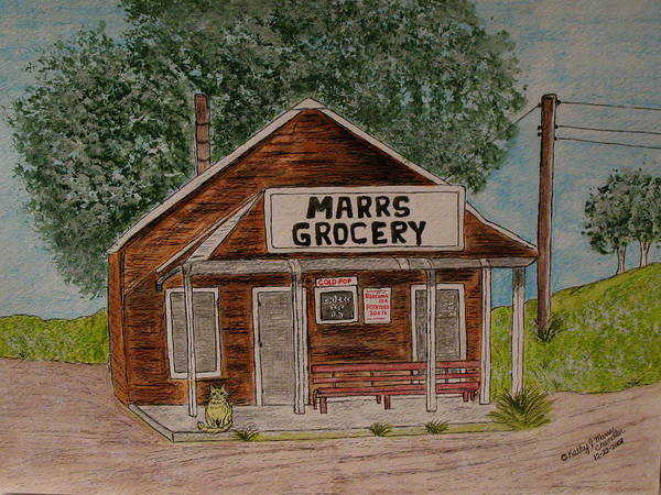 Marrs Art Print featuring the painting Marrs Country Grocery Store by Kathy Marrs Chandler