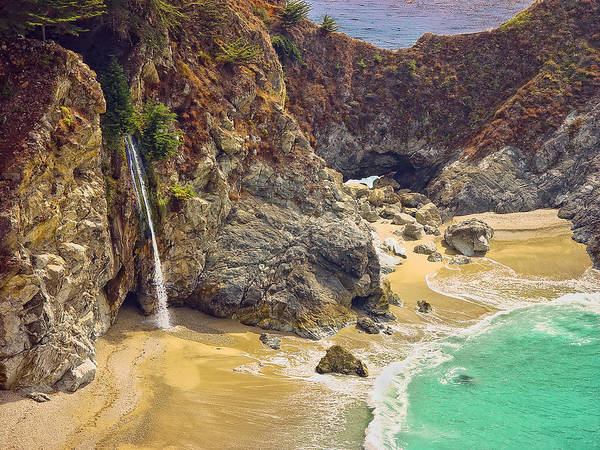 Mcway Falls Art Print featuring the photograph Mcway Falls On The California Coast by Rikka-chan