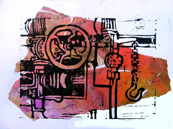 Lino Machine Print Red Art Print featuring the digital art Mech Heating Up by Adam Kissel
